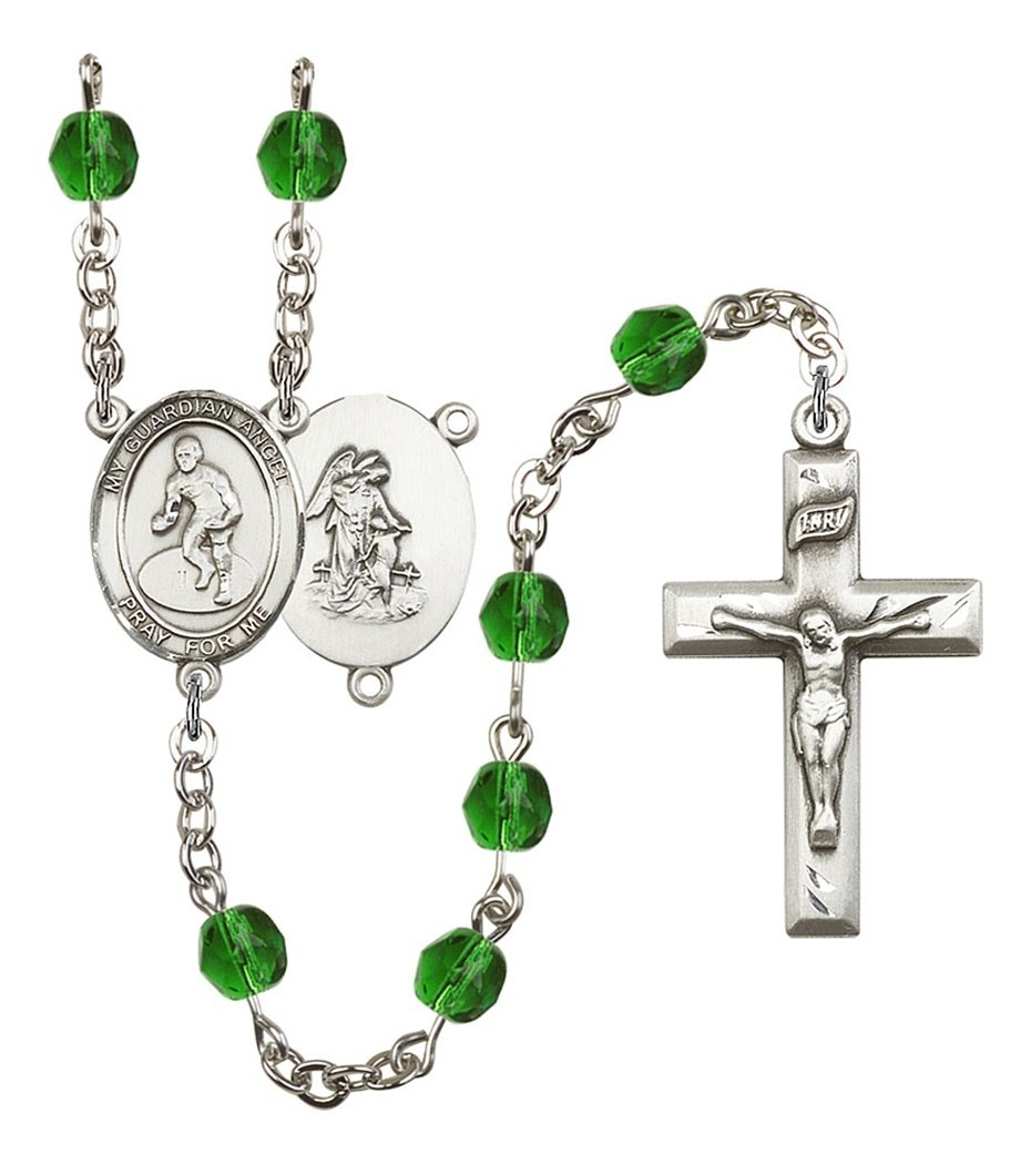 May Birth Month Prayer Bead Rosary with Guardian Angel Wrestling Centerpiece, 19 Inch