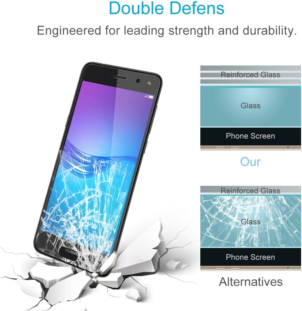 YSH Cell Phone Accessories 100 PCS for Huawei Y6 2017 0.26mm 9H Surface Hardness 2.5D Explosion-Proof Tempered Glass Non-Full Screen Film Screen Protector for Huawei