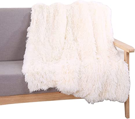 Yousa Super Soft Shaggy Faux Fur Blanket Ultra Plush Decorative Throw Blanket 51 63 Cream White Amazon Ca Home Kitchen