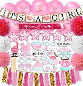 TEMMALDA Baby Girl Baby Shower Decorations 64 Pieces [Bonus Games EBOOK] Balloons, Pom Poms, Its a Girl Banner, Mommy to Be Sash, Photo Booth Props, Elephant Swirls, Tassels - White, Pink, Gold