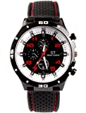 Fanmis GT Racer Sport Watch Military Pilot Aviator Army Style Black Silicone Red Mens Watch