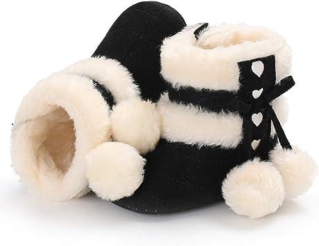 Newborn Baby Girls Boys Shoes Pom Pom Fleece Plush Lined Winter Warm Snow Boots Non-Slip Shoes