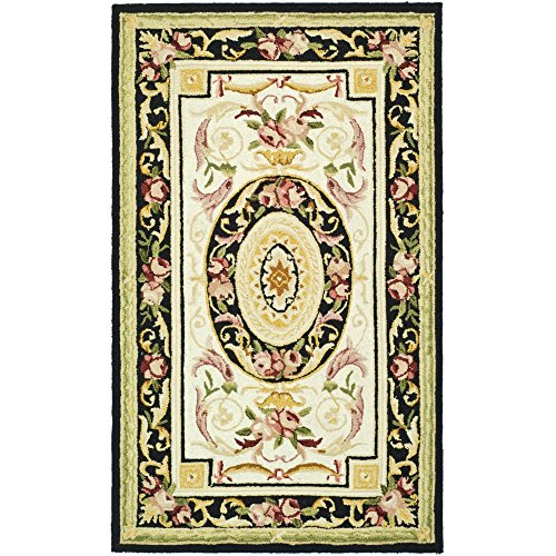 Safavieh Chelsea Collection HK72B Hand-Hooked Ivory and Black Premium Wool Area Rug (2'9