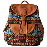 YOUR GALLERY Women's Faux Leather and Canvas Tribal Stripe Print Canvas Backpack, pattern 05