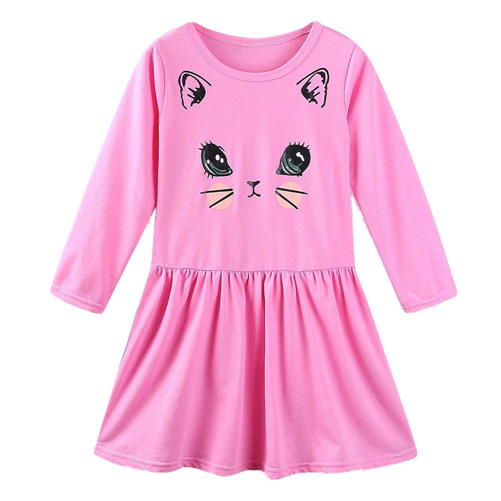 8eb24b6450c LittleSpring Little Girls Cotton Casual Dresses Long Sleeve Cartoon Cat  Print product image