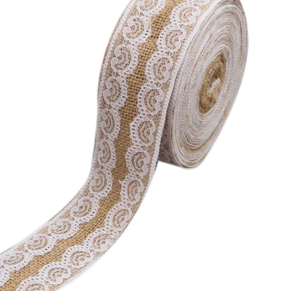 Topker Jute tissu dentelle rouleau de bricolage bricolage fait main décoration de Noël artisanat 100 * 5cm