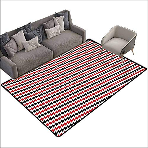Door Rug Increase Red and Black Hypnotizing Vintage Zigzag Chevron Wave Seem Retro Border Like Image Hard and wear Resistant W67 xL102 Vermilion White -