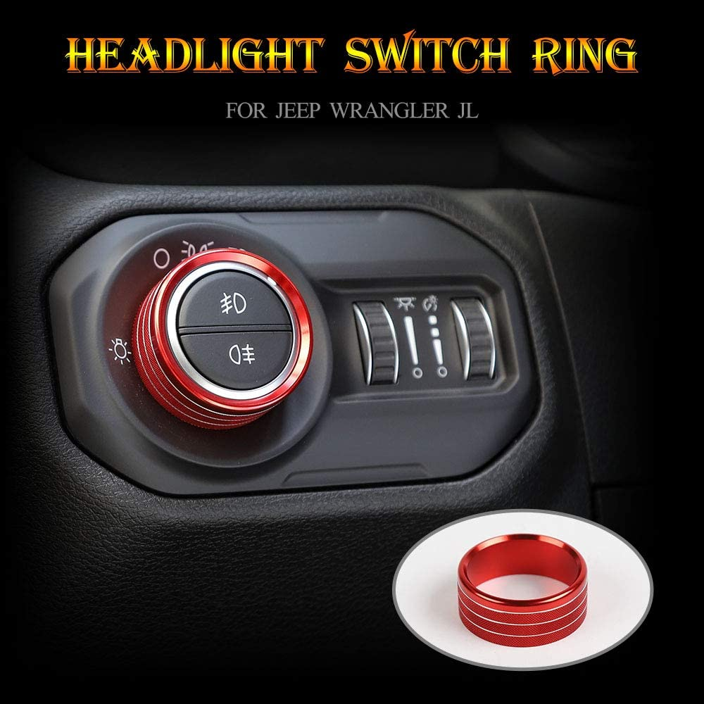 Car Headlight Switch Knob Frame Ring Cover Trim Interior Accessories for Jeep Wrangler JL 2018 Red