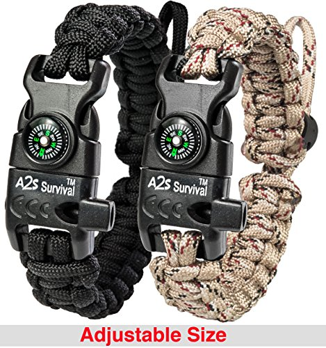 A2S Paracord Bracelet K2-Peak – Survival Gear Kit with Embedded Compass, Fire Starter, Emergency Knife & Whistle – Pack of 2 - Slim Buckle Design (Black / Sand-Camo Adjustable Size) (Camouflage Buckle)