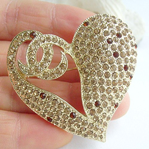 1.97'' Rhinestone Crystal Love Heart Brooch Pin Pendant BZ4831 (Gold-Tone Yellow) by Sindary Jewelry (Image #2)