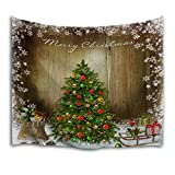 QiyI Home Wall Hanging Nature Art Fabric Tapestry-Christmas Dorm Room,Bedroom Decorations-90 L x 60'' W(229cmx153cm)-The Christmas Tree 1