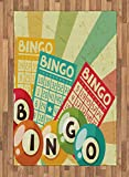 Vintage Area Rug by Ambesonne, Bingo Game with Ball and Cards Pop Art Stylized Lottery Hobby Celebration Theme, Flat Woven Accent Rug for Living Room Bedroom Dining Room, 4 x 6 FT, Multicolor