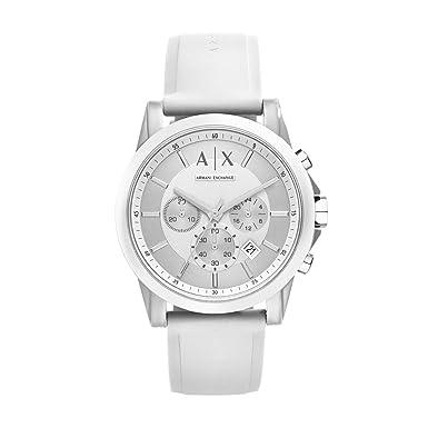 A X Armani Exchange Men s Silvertone White Nylon with Silicone Straps Watch