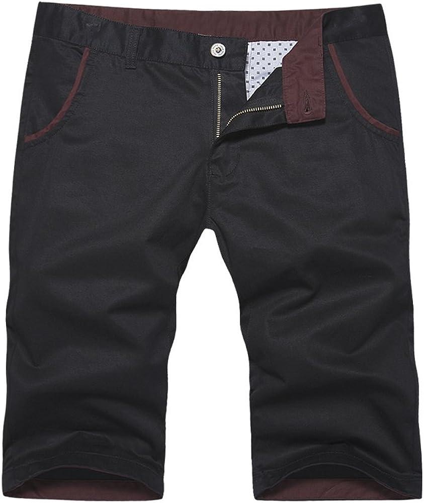 OCHENTA Men's Regular Fit Flat Front Cotton Shorts
