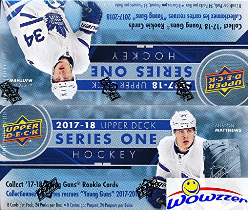 2017/18 Upper Deck Series 1 NHL Hockey MASSIVE Factory Sealed 24 Pack Retail Box with 192 Cards & Game Jersey Card! Includes 6 Young Guns Rookies,3 Canvas Cards & 3 Portrait Inserts! Awesome! WOWZZER! Nhl Rookie Card