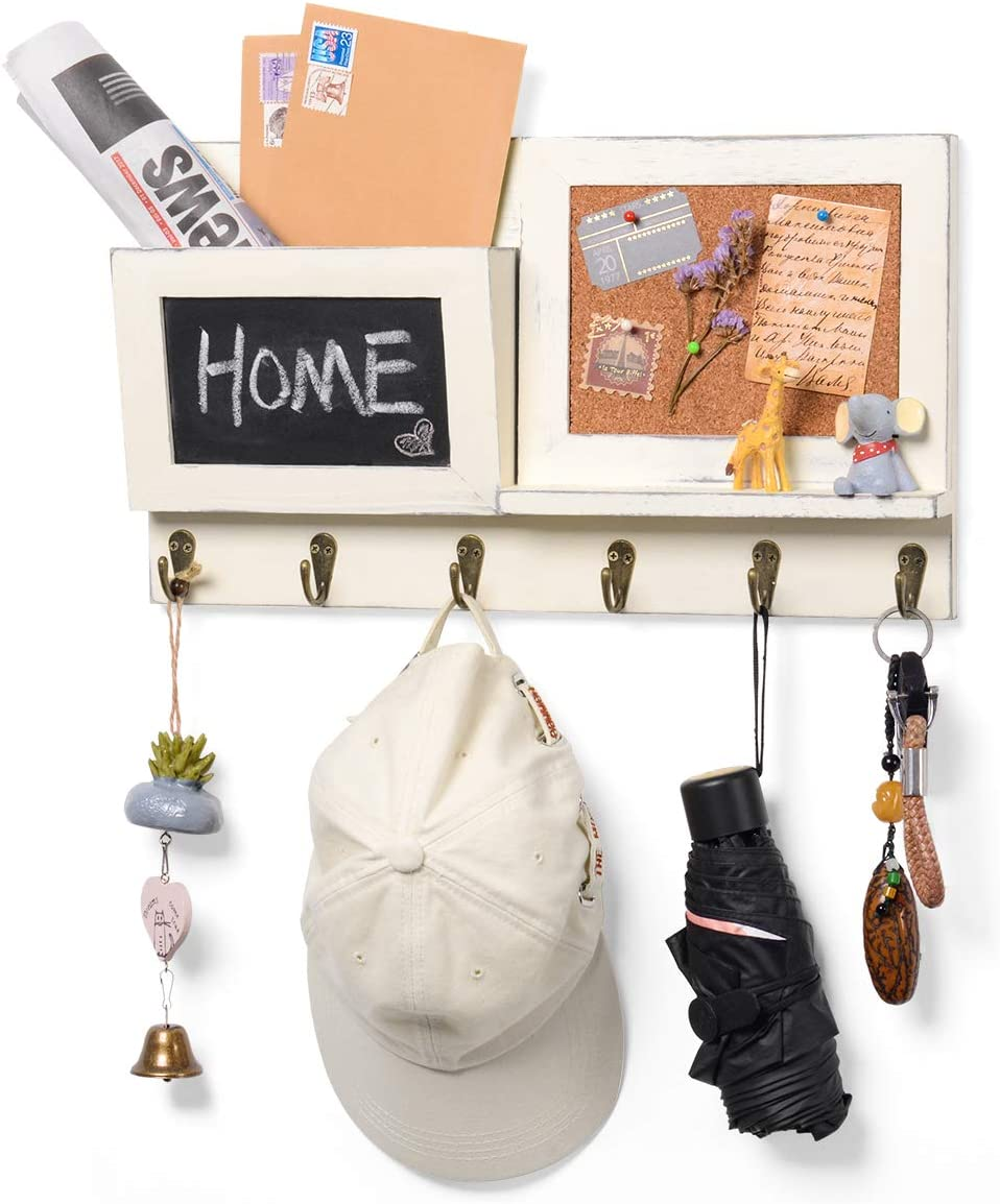 Wall Mount Entryway Mail Envelope Organizer, Key Holder Coat Rack with Chalkboard and 6 Hooks for Wall Decorative, 12 Pins for Nailing Rustic Shabby Wood White 16.5x9.4in