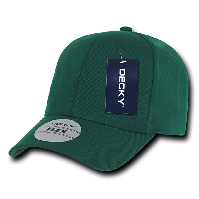 27b895c10e0 Forest Green Plain Solid Blank Flex Baseball Fit Fitted Ball Cap Hat ...