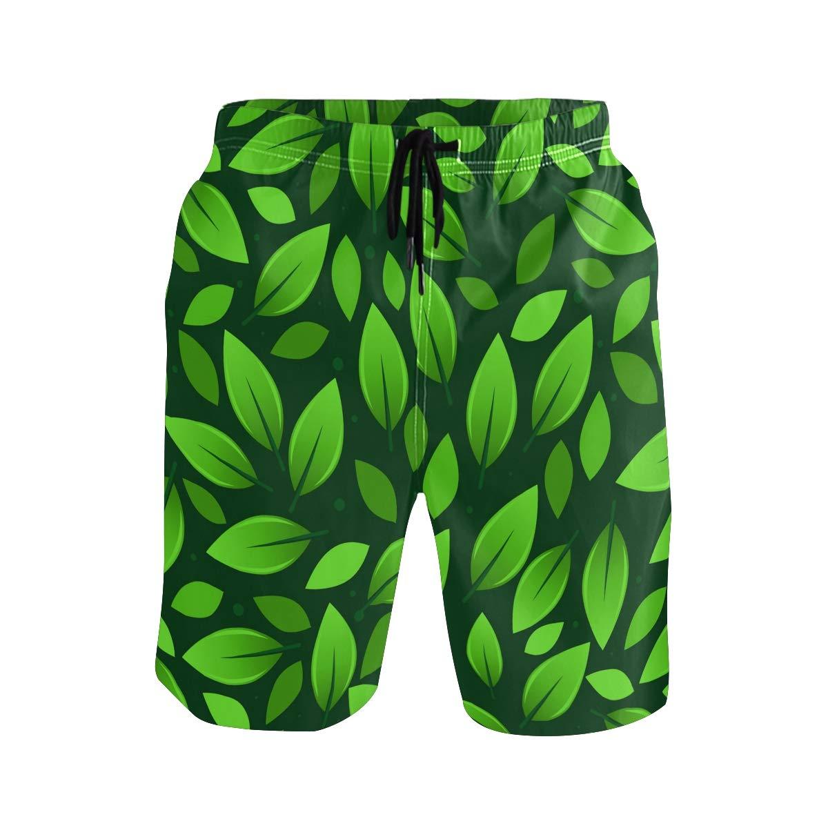 Mens Beach Swim Trunks Green Leaf Boxer Swimsuit Underwear Board Shorts with Pocket