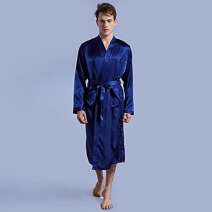 ALJL Nuevos Hombres Trajes Pijama Delgada de Rebeca Camisón Flojo Vestidos de Seda Noble Cómodo Albornoz