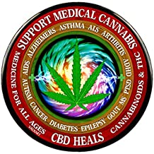 """Words CBD Cannabinoids Cures On Pin-Back Button -2.25"""" or 3"""" Diameter"""