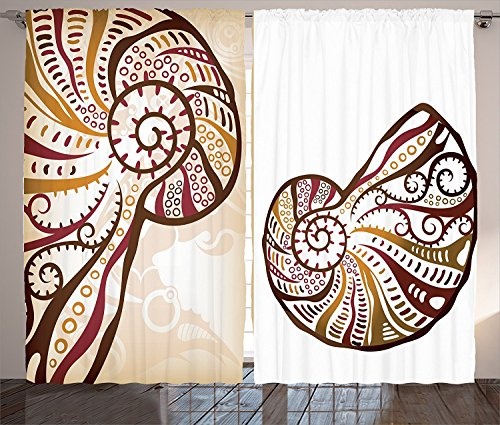 [Seashells Decor Curtains Boho Seashells Pattern Divided Two Part Effects Hear the Ocean Creature Concept Living Room Bedroom Decor 2 Panel Set Light Brown Cream,Size:2 x 54