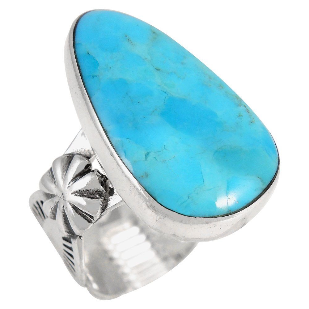 Sterling Silver Ring Genuine Turquoise (SELECT color) (Turquoise, 8)
