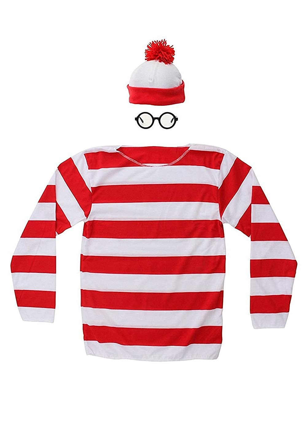 THYLL Cos Halloween Cosplay Shirts, Where's Waldo Costume, Red and White Striped Shirt, Funny Sweatshirt, Glasses Hat Suits Where' s Waldo Costume
