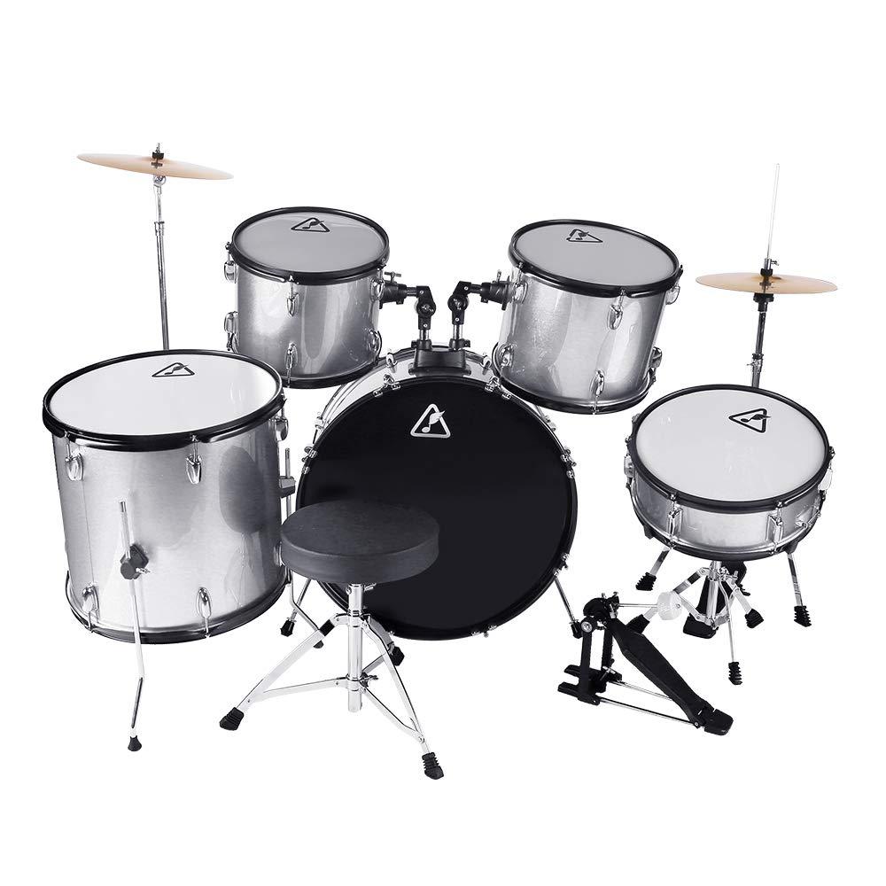 22inch 5 Piece Adults Drum Set, Les Ailes de la Voix Complete Full Size Adults' Drum Set Cymbal Child Kit with Stool Sticks Sliver