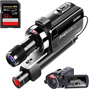OsxoBear Video Camera Night Vision Camcorder up to 100M/330ft Viewing Distance,Night Vision Video Camcorder with Mini Monocular,External Infrared Lamp,32GB Card (DVC-001 Without Microphone)