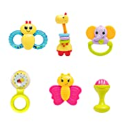 infunbebe Baby Rattles Teether Toy, Grab, Shaker & Spin Rattle, First Senses Shaking Bell Rattle Set for 3+ Months Infant, 6 Pcs