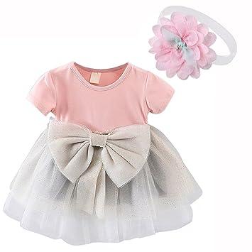 7719f876a3848 EVESUN ベビー服 チュールワンピース 1歳キッズ用 子供かわいいドレス スカート + 新生児ヘアバンド