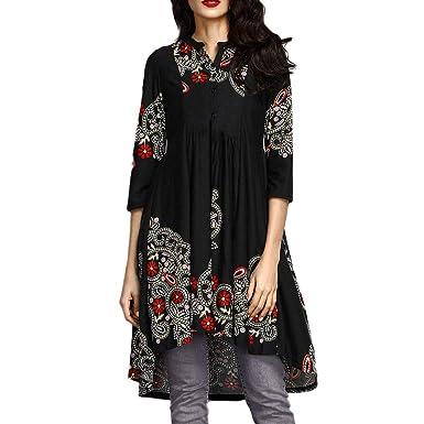 Amazon Com Gifc Women O Neck Button Tops Fashion Three Quarter