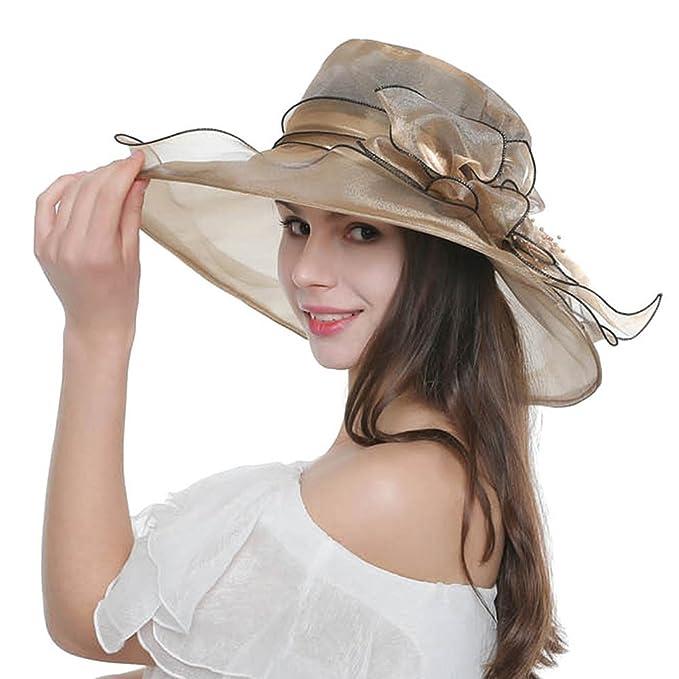 Lvaiz Women s Organza Church Kentucky Derby Hats Fascinator Bridal Cap  British Tea Party Wedding Hat Summer 458dd30c2b1