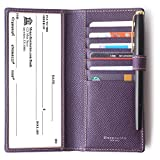 Genuine Leather Checkbook Cover For Men & Women - Checkbook Covers with Card Holder Wallet RFID Blocking (Purple)