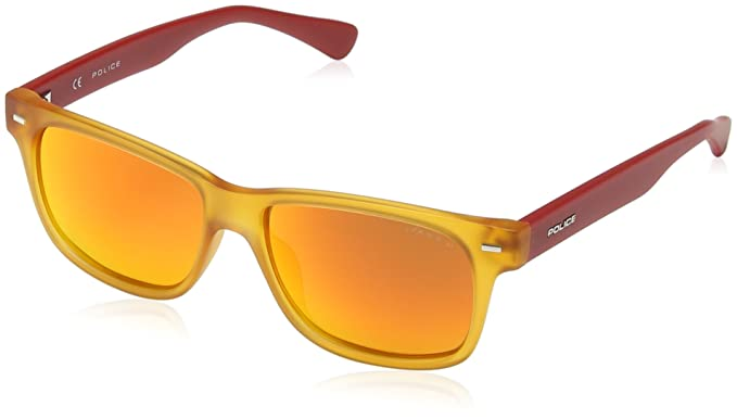 Police - Gafas de sol Wayfarer SK033 Bruce para niños, SEMI MATT TRANSPARENT ORANGE &