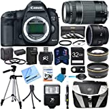 EOS 5D Mark III 22.3 MP Full Frame CMOS Digital SLR Camera Body Super Bundle includes EOS 5D Mark III Camera Body, 50mm Lens, 75-300mm Lens, 58mm UV Filter, 32GB Memory Card, Card Reader, Tripod, Gadget Bag, Cleaning Kit and much more!