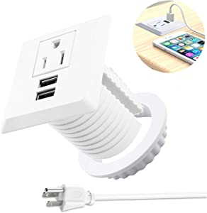 Desk Power Grommet wiht USB, Fits 2 inch Grommet Hole, Recessed Power Strip Socket, Plug in 2 Outlet 6.5 ft Extension Cord