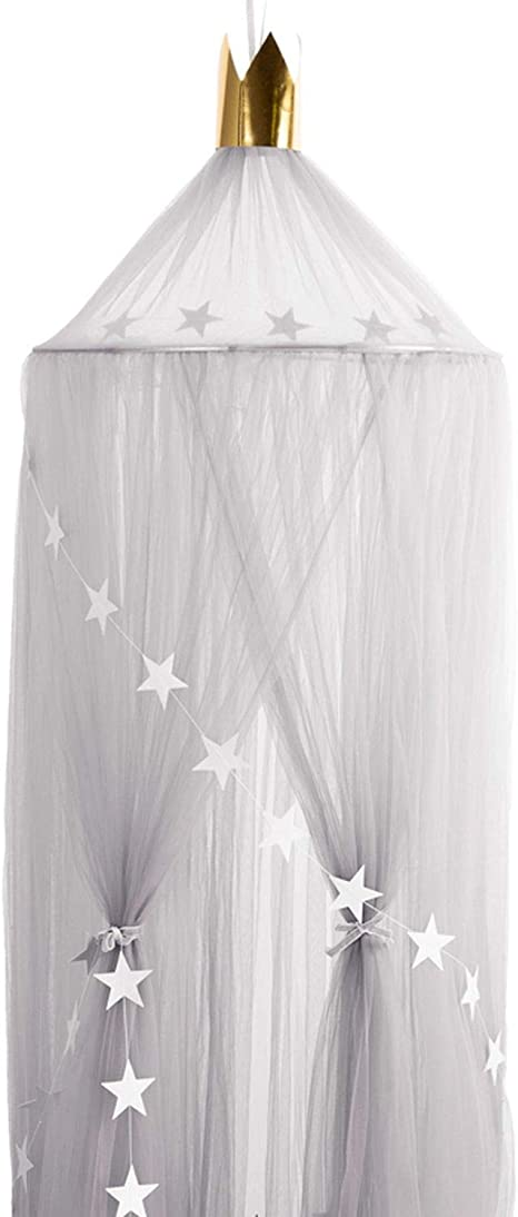 Demarkt Hanging Grey Bed Canopy with Pom Poms Round Dome Cotton Mosquito Net Hideaway Tent Canopies for Baby Crib Kids Bed