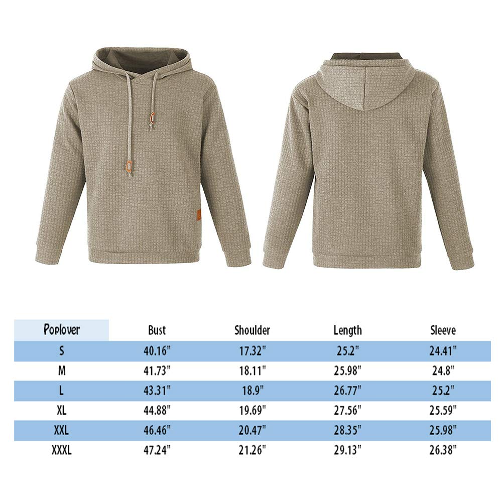 Poplover Mens Solid Casual Sweatshirts Long Sleeve Pullover Hoodies Khaki XX-Large