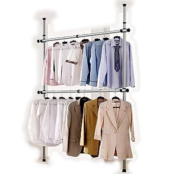 Goldcart 38mm Diameter Pole Long Crossbar Portable Indoor Garment Rack Tools Free Diy Coat Hanger Clothes Wardrobe 2 Poles 2 Bars 90kg Loading Per