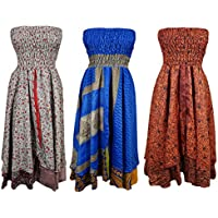 Mogul Womens Vintage Silk Sari Dress Recycled Two Layer Skirt Wholesale Lot Of 3 Pcs