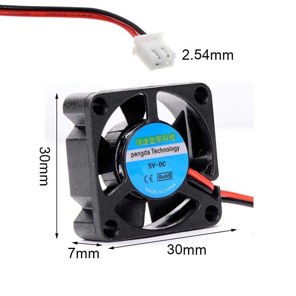 CJRSLRB 4Pcs Raspberry Pi Fan (30x30x7mm) + 8Pcs Heatsinks for Raspberry Pi Cooling