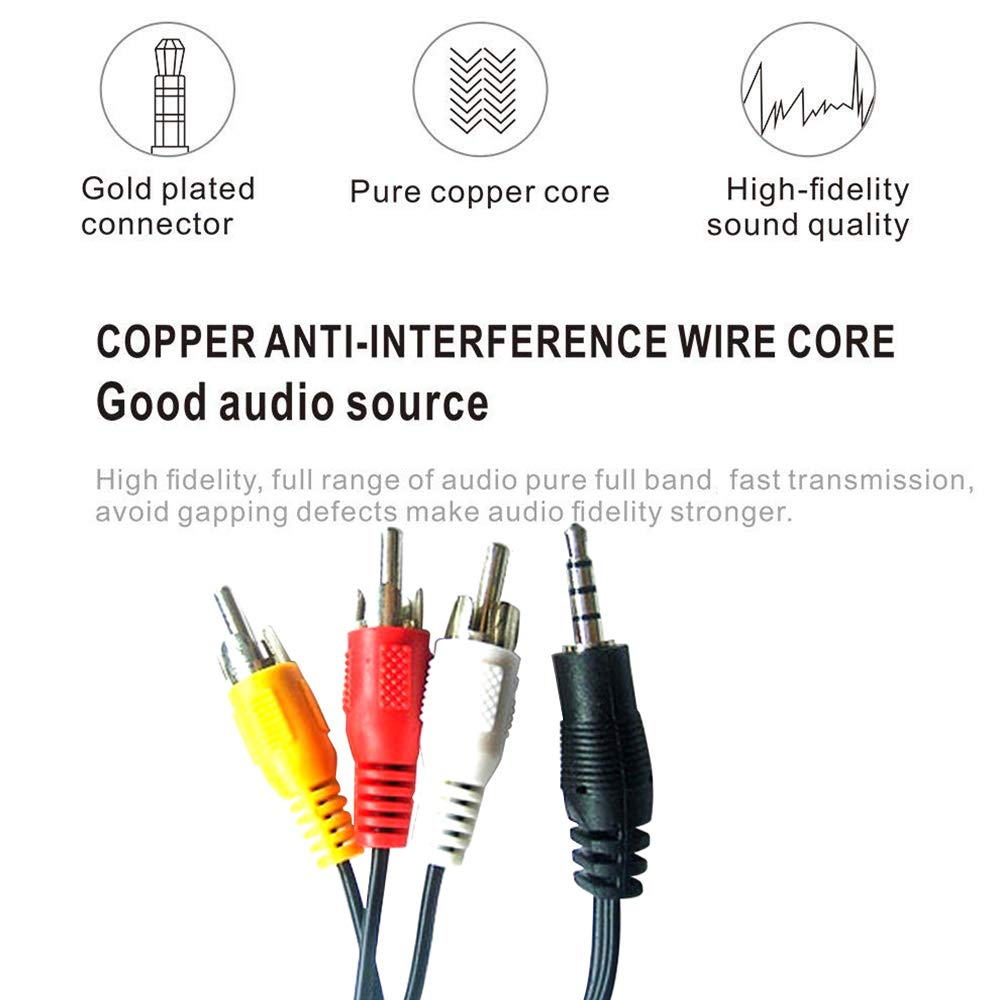 3.5 Straight to 3 RCA 1.9m 6.2FT 3.5mm to 3 RCA Male Plug to RCA Stereo Audio Video Adapter Male AUX Cable Cord for TV AV Camcorder Video Cable and More MP3,Speakers Home Theater TV Box