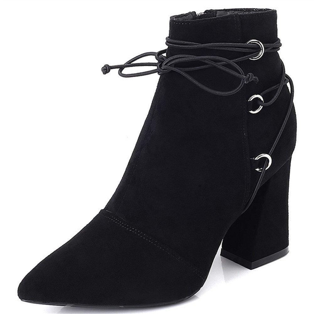 Spitz Stiefe für Damen Ankle - Mode Blockabsatz Veloursleder-Optik Ankle Damen Stiefel Fleece Gefüttert Warm Winter Herbst Stiefel Schuhe Schwarz 2 52e2ba