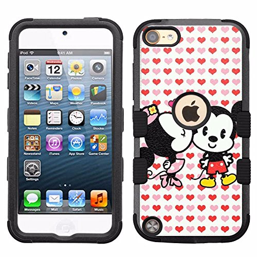 for iPod Touch 5/6, Hard+Rubber Dual Layer Hybrid Heavy-Duty Rugged Armor Cover Case - Mickey Mouse Minnie Mouse - Mouse Ipod 5 For Case Minnie