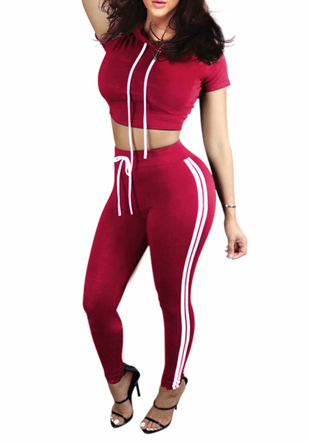 2 Piece Outfits for Women Hooded Tracksuit Crop Tops and Pants Jog Set Red XL