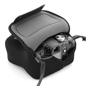USA Gear Bolsa Funda Cámara Reflex – Protección duradera de Neopreno - para Canon EOS 100D, 400D, 1000D / Sony SX510 HS / Nikon Coolpix S6800 y mucho ...