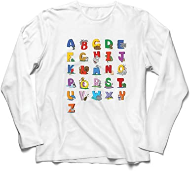 lepni.me Camiseta de Manga Larga para Hombre Alfabeto Inglés ...
