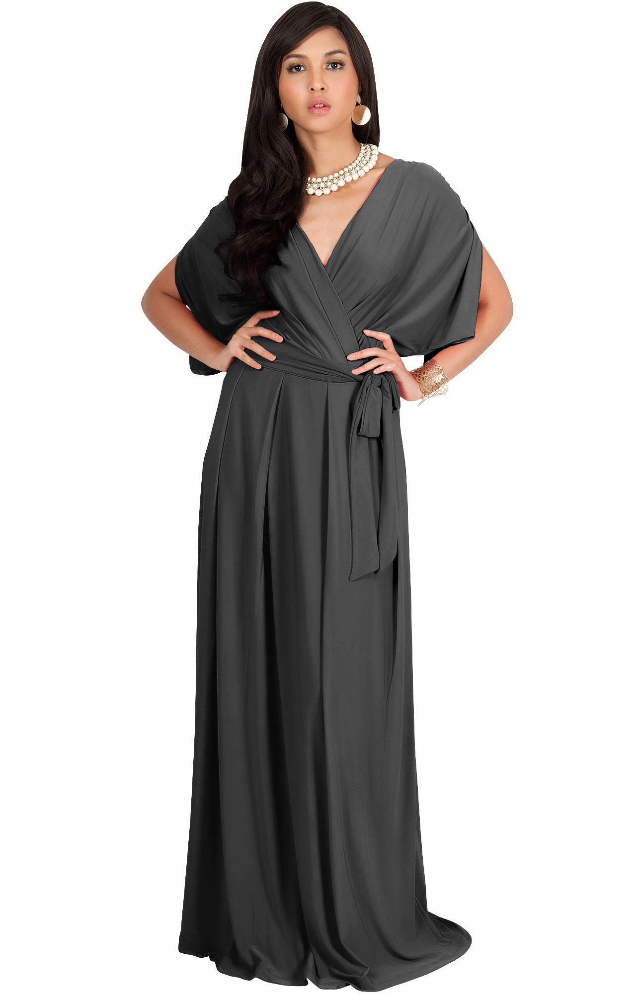 3962a2e7905 KOH KOH Petite Womens Long Semi-Formal Short Sleeve V-Neck Full Floor  Length V-Neck Flowy Cocktail Wedding Guest Party Bridesmaid Maxi Dress  Dresses Gown ...