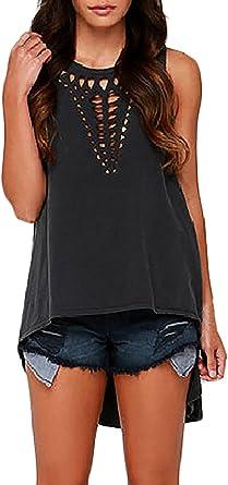 Saoye Fashion Tops Mujer Verano Camisetas Sin Mangas Cuello Redondo Suelto Color Solido Huecos Elegantes Moda Hippie Casual Verano Chalecos Blusas Shirt Top: Amazon.es: Ropa y accesorios